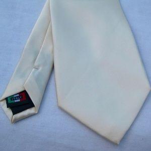 Solid Creamy Off White Neck Tie Satin by Brand Q
